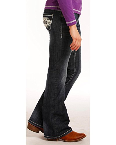 Rock & Roll Cowgirl Girls' and (7-14) Aztec Embroidered Jeans Boot Cut Indigo 12 by Rock and Roll Cowgirl (Image #1)