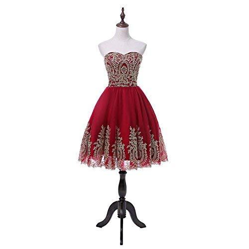 4f75df4f1 Amazon.com: Gold Applique and Burgundy Short Prom Homecoming Dresses for  Junior: Handmade