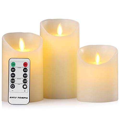 Aku Tonpa Flameless Candles Battery Operated Pillar Real Wax Flickering Moving Wick Electric LED Candle Sets with Remote Control Cycling 24 Hours Timer, 4
