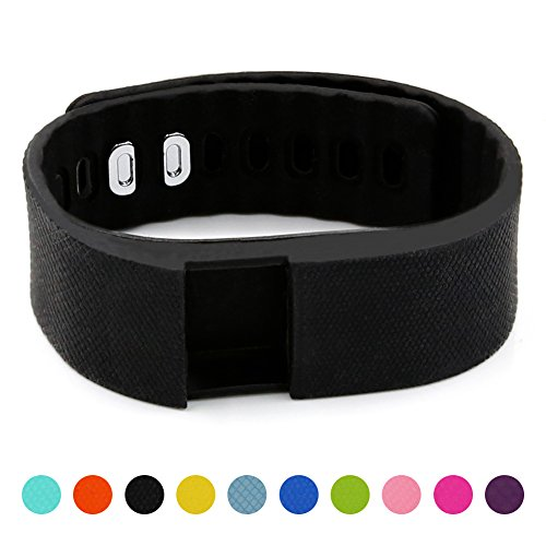 Soft Silicone Band for Teslasz Fitness Tracker in 10 Colors for Option,Black