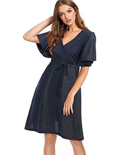 (Mixfeer Womens V Neck Glitter Short Sleeve Dress Mini Skater Dress Party Dress Dark Blue)