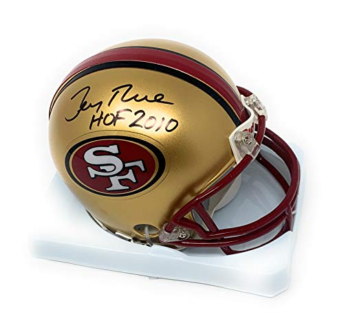 Jerry Rice San Francisco 49ers Signed Autograph Throwback Mini Helmet HOF INSCRIBED GTSM Rice Certified ()