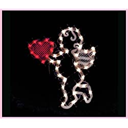 VALENTINES DAY LIGHTED CUPID HEART WINDOW DECORATION