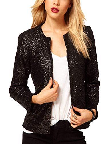 SEBOWEL Women Shiny Sequin Blazer Jacket Open Front Cropped Bolero Shrug Cardigan Black XXL