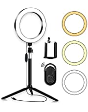 Andoer Ring Light with Stand 8 Inch Dimmable Bi-Color Ring Video Light 3 Lighting Modes with Selfie Stick Phone Holder Remote Control for Live Streaming Making-up Vlogging Portrait Photography