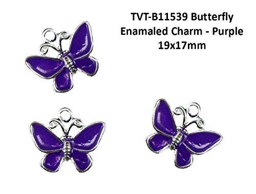 PlanetZia 8 pcs Butterfly Enameled Charm TVT-B11539 19x17mm(Purple)