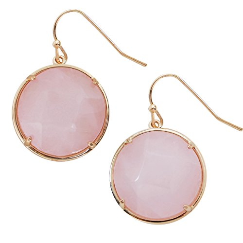 Round Simulated Semiprecious Gemstone Dangles - Faceted Statement Hook Drop Earrings, Round Simulated Rose-Quartz, Light Pink, Blush, Simulated Amethyst, Gold-Tone, by Humble Chic - Quartz Dangling Earrings