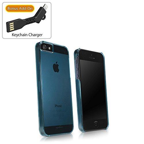 Coque Iphone se, BoxWave® [Coque Cristal avec chargeur Porte-clés Bonus] Coque fine, ultra léger, se, rigide Shell Housse Coque pour Apple iPhone 5S, 5–Bleu