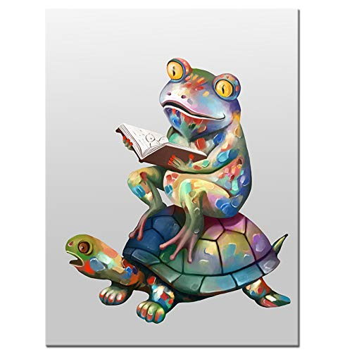 Welmeco Cute Funny Frog and Tortoise Digital Painting Canvas Prints Reading More Books Picture Wall Art Framed and Strethed for Home Bedroom Reading Room Decoration