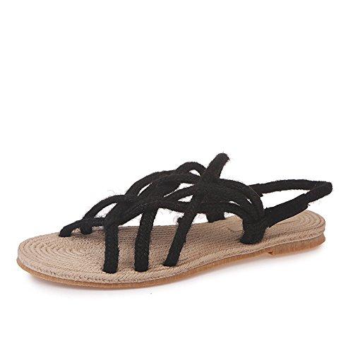 De Nuevas XINGGUANG Black Sandalias DADAQQ Cáñamo 36 Mano Zapatos De Cuerda Mujer De 35 Hechas A Black zZxqq5Cw