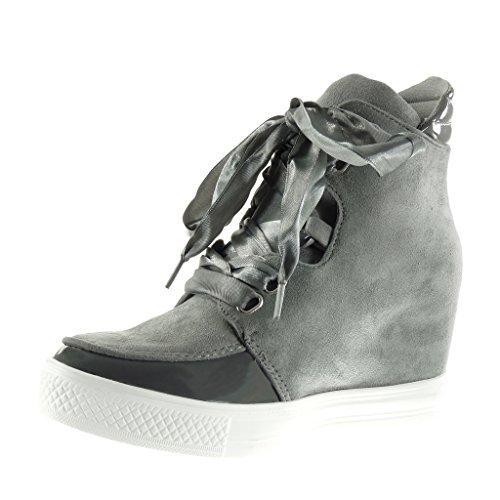 Angkorly - Scarpe da Moda Sneaker Zeppa classic donna lucide Tacco zeppa piattaforma 7 CM - Grigio