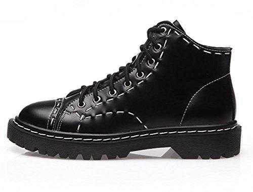 Style Lacer Cheville De NVXIE Chaussures Faible BLACK air Britanique Hiver Cuir Plein EUR38UK55 Bas Femmes Appartement Talon Noir Épais Bottes Loisir L'automne 5pxOxCq