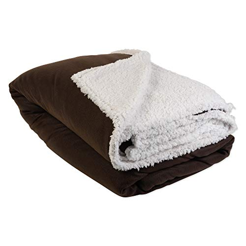 J&M Home Fashions Heavyweight Sherpa Fleece Throw Blanket 60x96, Twin/Twin XL, Reversible Fuzzy Soft Warm Breathable Fluffy for Bed, Chair, Couch, Picnic, Camping, Beach, Travel-Chocolate Brown