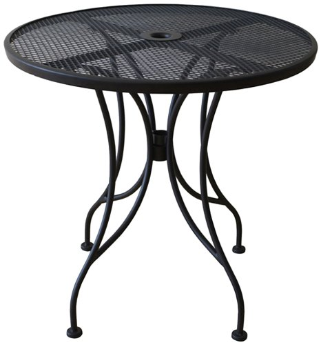 Oak Street Manufacturing OD30R Round Black Mesh Top Outdoor Table, 30