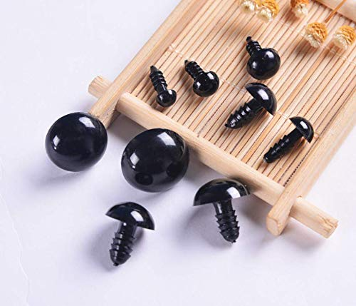 Black Bear Crafts - CNLEIFU 100pcs Assorted Sizes Black Plastic Safety Eyes with Washers for Toy DIY Teddy Bear Animal Plush Doll Puppet Crafts