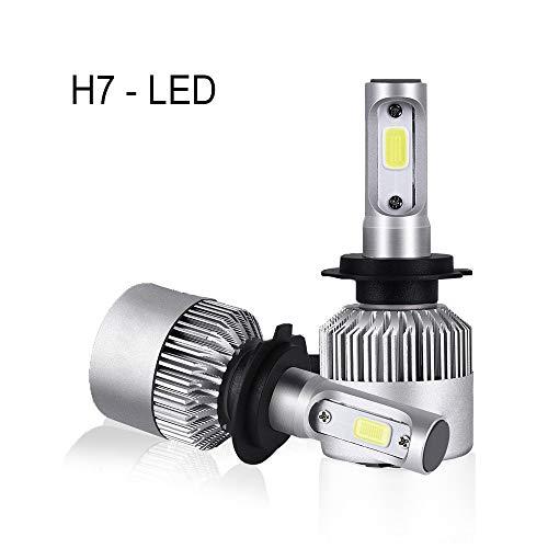 H7 H11 H8 H9 9005 9006 HB2 H4 9003 LED Headlight Bulbs Xtreme Super Bright Cob Chip Bulbs Series LED Headlight Conversion Kits 72W 8000lm Hi-Lo Beam (H7)