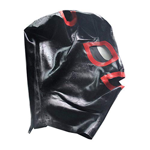 EXLATEX Latex Hood Deadpool mask Red Trim Mouth Eyes Nostrils with Zipper Ponytail Holes Women Mask (Medium, Black) -