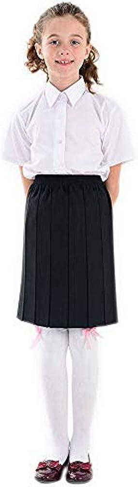adam /& eesa Pack of 2 Boys Girls School White Blue Short Sleeves Shirts UK Size