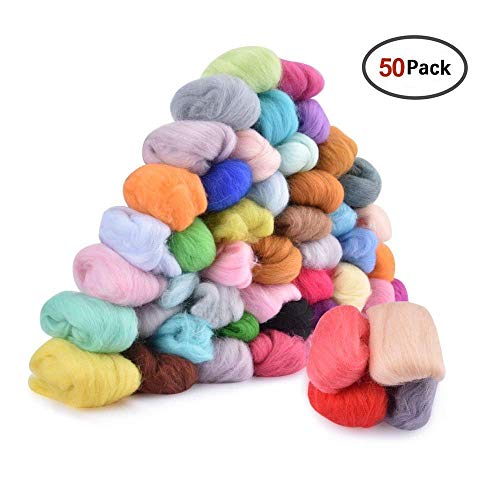 50 Colors Fibre Wool Yarn Roving, AFDEAL Needle Felting Hand Spinning DIY Craft Materials ()
