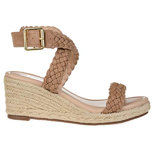 Woven Leather Espadrilles - Brinley Co Comfort Womens Woven Espadrille Wedge Taupe, 10 Regular US