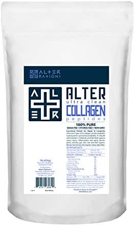 ALTER+COLLAGEN | Ultra-Clean Grass-Fed Collagen Peptides Protein | 100% Pure. Professional-Grade. Hydrolyzed. Non-GMO. No Additives. (16 oz)