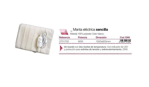 Gsc - Manta electrica 150x80cm. 60W 2701700: Amazon.es: Bricolaje y herramientas