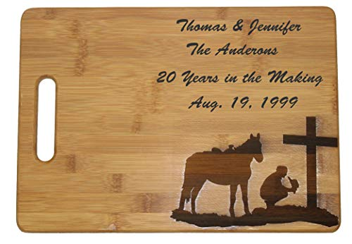 (Cowboy by the Cross on a Custom Cutting Board Personalized Monogram Cutting Boards Great Gifts for Wedding, Couples, Parents, and Anniversary Gift Praying Cowboy on His Horse (Large 13 3/4 x 9 3/4))