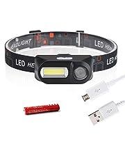 Mini COB LED Headlight Headlamp Head Lamp Flashlight USB Rechargeable 18650 Torch Camping Hiking