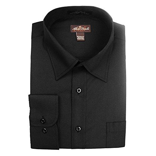 Alberto Danelli Men's Solid Long Sleeve Dress Shirt, Black, XXLarge / 18-18.5