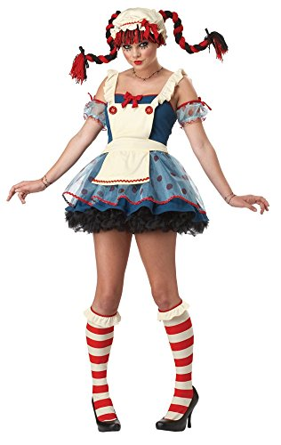 Rag Doll Costume (California Costumes Women's Rag Doll Costume, Navy/White, Medium)
