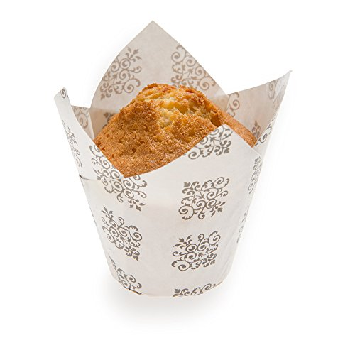 Panificio Premium 1.7-oz Baking Cups: Tall-Petal Paper Baking Cups Perfect for Muffins, Cupcakes or Mini Snacks – Vintage Floral Design – Disposable and Recyclable – 200-CT (Snack Vintage)