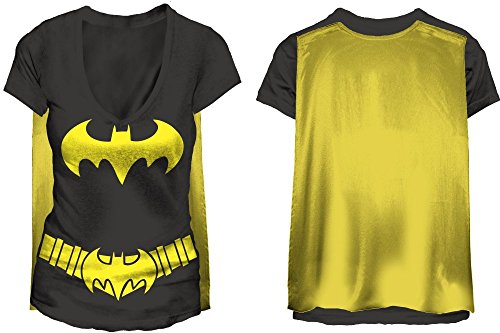 Dc Comics Batman Costume Juniors T-shirt w/ Cape Batgirl Licensed (X-Large) - Batman Batgirl Costumes