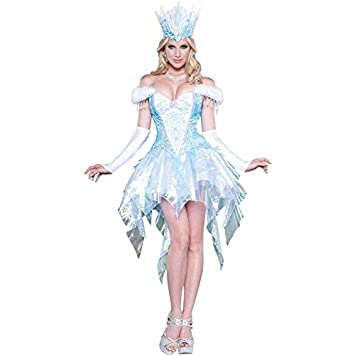 ladies sexy snow ice queen fancy dress halloween costume size 8 10 12