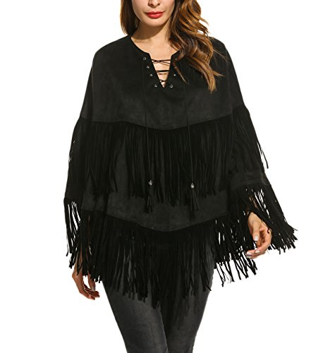 Zeagoo Spring Fall Faux Suedette Poncho Cape Coat Lace Up Front Fringed Poncho Cape Outwear