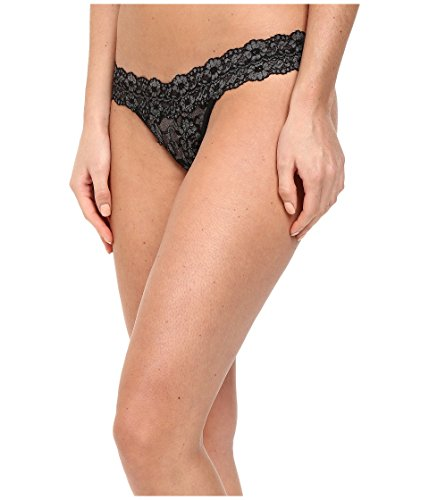 (Hanky Panky Women's Signature Lace Low Rise Thong, Black/Heather, One Size)