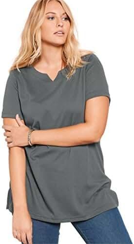 Roamans Women's Plus Size Notch Neck Tunic - Solid Colors