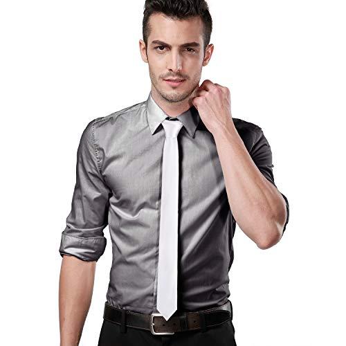 Landisun Skinny Tie Silk Tie White Satin Slim Necktie Exclusive 2 inch