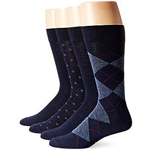 Dockers Men's 4 Pack Argyle Dress, Navy, Sock Size:10-13/Shoe Size: 6-12