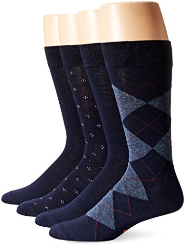 Dockers Men's 4 Pack Argyle Dress Socks, Navy, Shoe Size: 6-12 (Socks Calf Patterned)