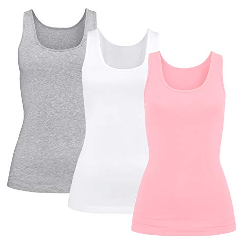 - Women Built-in Shelf Bra Cami Tank Top Lingerie Athletic Vest Gift Set 3 Packs,Grey/White/Pink M