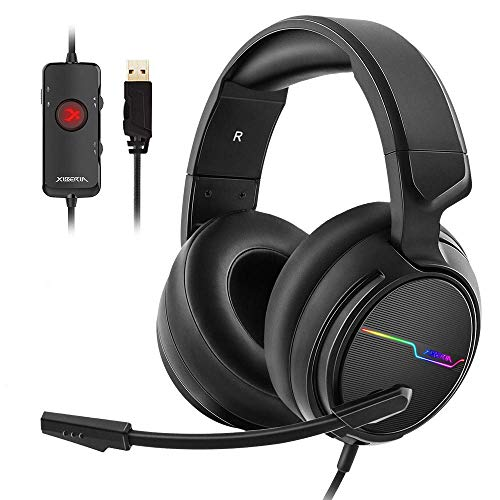 Jeecoo USB Pro Gaming Headset for PC- 7.1 Surround Sound Headphones with Noise Cancelling Mic- Memory Foam Ear Pads RGB Lights for Laptops (Best Noise Cancelling Gaming Headset)