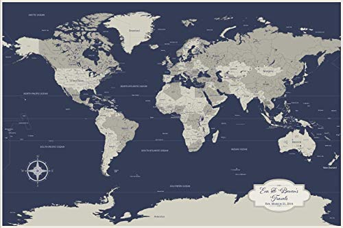 Cotton Anniversary Personalized Push Pin World Travel Map with 100 Push Pins