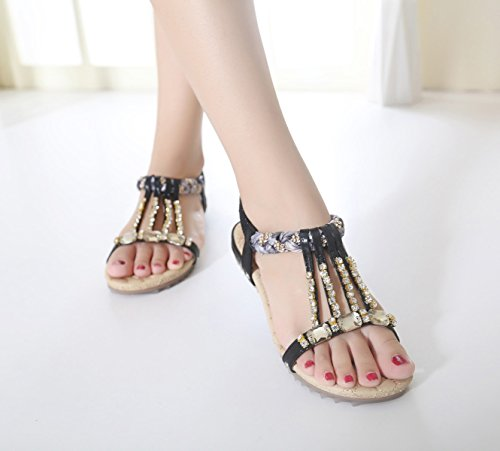 Sandals Shoes Women's String Toe Clip Black Bead Flat Bohemian ZAMME 8qfpxTw0