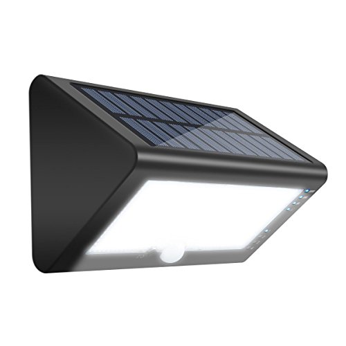 8' Wide Outdoor Wall Light (Solar Lights-SGODDE 35 LED Motion Sensor Security Lights, Outdoor Flood Lights-600LM Garden Light ,Waterproof Wall Light for Patio, Yard, Driveway -Activated Auto On/Off, Wireless, 180° wide angle)