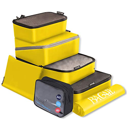 BAGAIL Packing Cubes System 7-Pcs Travel Organizer Accessories for Carry On Luggage with Shoe Bag and Toiletry Bags Yellow