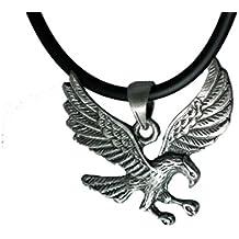 "Flying Hawk Bird of Pray Pewter Pendant +18"" Pvc Rubber Necklace"