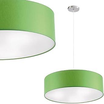 Como Techo o Lámpara colgante utilizable Mampara - ø 40cm Pantalla de tela - en Verde inclusive linterna LED: Amazon.es: Iluminación