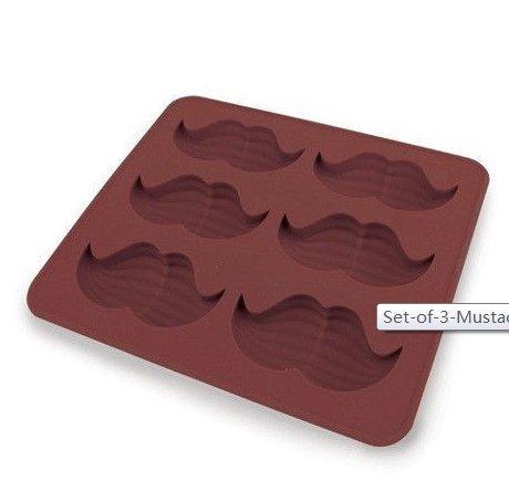 Set de 3 bigote Cubito de hielo molde de silicona chocolate jabón vela Candy: Amazon.es: Hogar