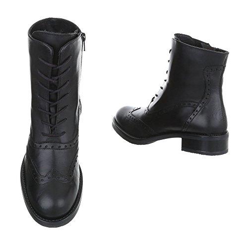 Ital-Design Schnürstiefeletten Leder Damenschuhe Klassischer Stiefel Blockabsatz Schnürer Reißverschluss Stiefeletten Schwarz