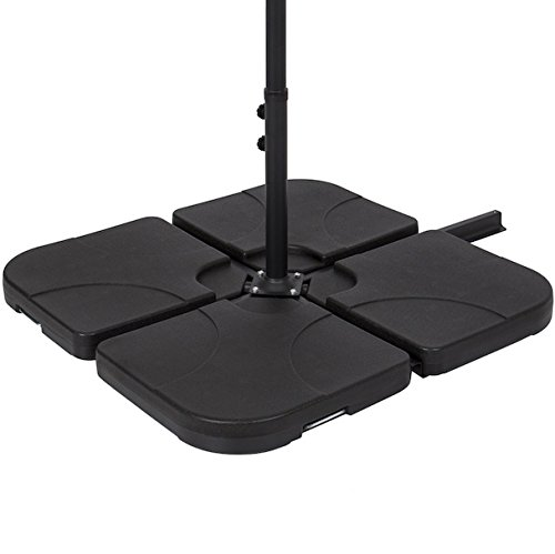4 Piece Cantilever Offset Black Umbrella Base Stand Support Umbrella Stand Pool Side Outdoor Area Patio Backyard Lawn Furniture Heavy Duty HDPE Plastic Large Capacity Water Sand (Patio Furniture Brisbane)